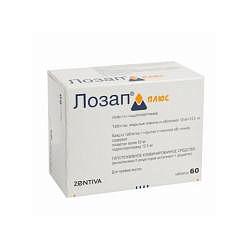 Лозап плюс 50мг+12,5мг 60 шт. таблетки покрытые пленочной оболочкой