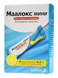 Маалокс мини 4,3мл 6 шт. суспензия для приема внутрь