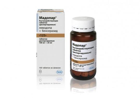 """Мадопар быстродействующие таблетки (диспиргируемые) """"125"""" 100мг+25мг 100 шт. таблетки диспергируемые, фото №1"""