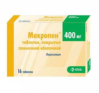 Макропен 400мг 16 шт. таблетки покрытые пленочной оболочкой