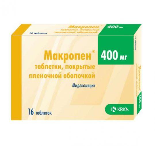 Макропен 400мг 16 шт. таблетки покрытые пленочной оболочкой, фото №1