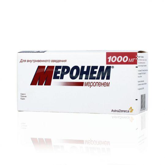 Меронем 1г 10 шт. порошок для приготовления раствора для внутривенного введения, фото №1