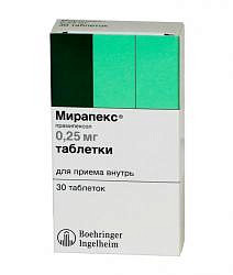 Мирапекс 0,25мг 30 шт. таблетки