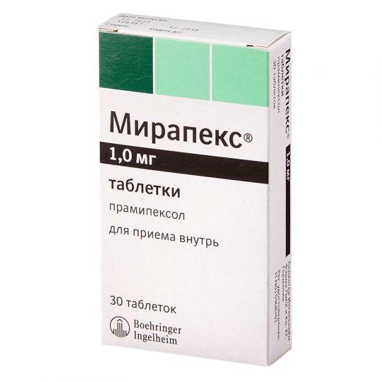 Мирапекс 1мг 30 шт. таблетки, фото №1