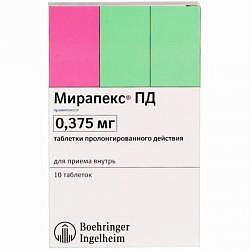 Мирапекс пд 0,375мг 10 шт. таблетки пролонгированного действия