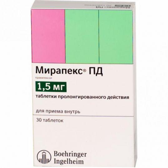 Мирапекс пд 1,5мг 30 шт. таблетки пролонгированного действия, фото №1