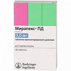 Мирапекс пд 3мг 30 шт. таблетки пролонгированного действия