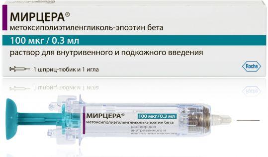 Мирцера 100мкг/0,3мл 1 шт. раствор для внутривенного и подкожного введения шприц-тюбик, фото №1
