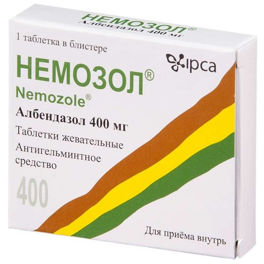 Немозол 400мг 1 шт. таблетки жевательные, фото №1