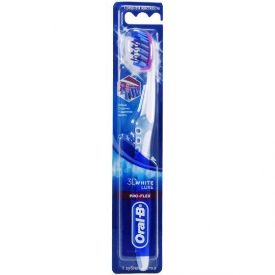 Орал-би 3d вайт люкс зубная щетка про-флекс средняя, фото №1