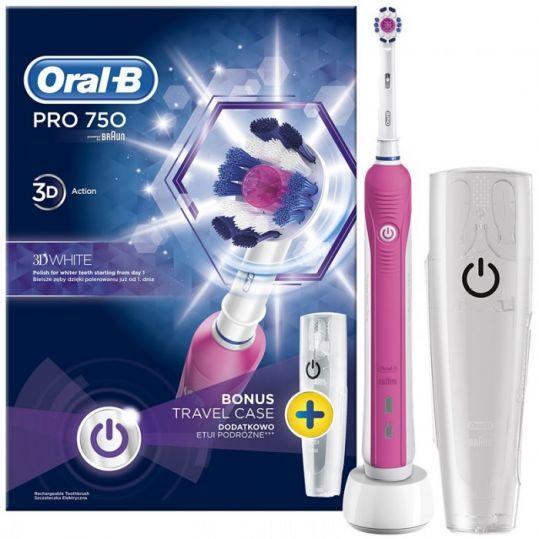 Орал-би профешнл зубная щетка электрическая 750/d16 кроссэкшн 3д вайт (тип 3756), фото №1