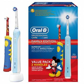 Орал-би профешнл набор зубных щеток электрических 500/d16/51513u + mickey for kids d10.513