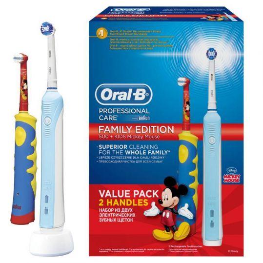 Орал-би профешнл набор зубных щеток электрических 500/d16/51513u + mickey for kids d10.513, фото №1