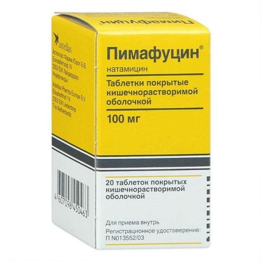 Пимафуцин 100мг 20 шт. таблетки покрытые кишечнорастворимой оболочкой, фото №1