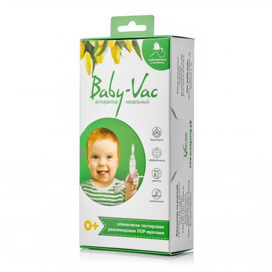 Аспиратор назальный детский baby-vac (бейби-вак) с двумя сменными многоразовыми насадками, фото №1