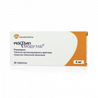 Реквип модутаб 4мг 28 шт. таблетки пролонгированного действия покрытые пленочной оболочкой