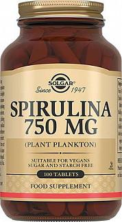 Солгар спирулина таблетки 750мг 100 шт.