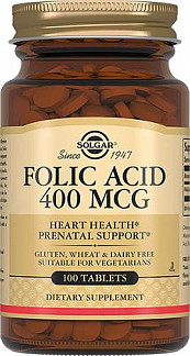 Солгар фолиевая кислота таблетки 400мкг 100 шт.