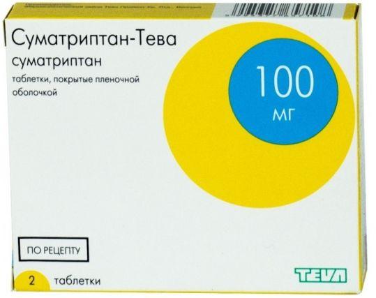 Суматриптан-тева 100мг 2 шт. таблетки покрытые пленочной оболочкой, фото №1