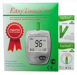 Изи тач тест-полоски для опред глюкозы в крови n50х2+глюкометр в подарок