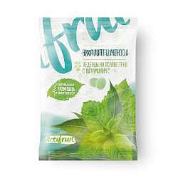 Актифрут леденцовая карамель с витамином с со вкусом эвкалипта с ментолом 60г