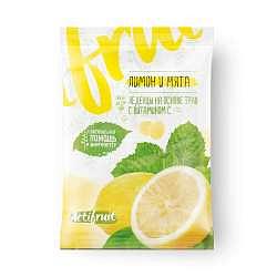 Актифрут леденцовая карамель с витамином с со вкусом лимона с мятой 60г