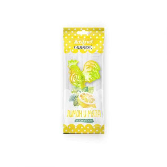 Актифрут леденцовая карамель с витамином с со вкусом лимона с мятой 17г, фото №1