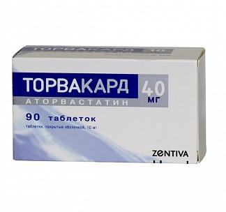 Торвакард 40мг 90 шт. таблетки покрытые оболочкой