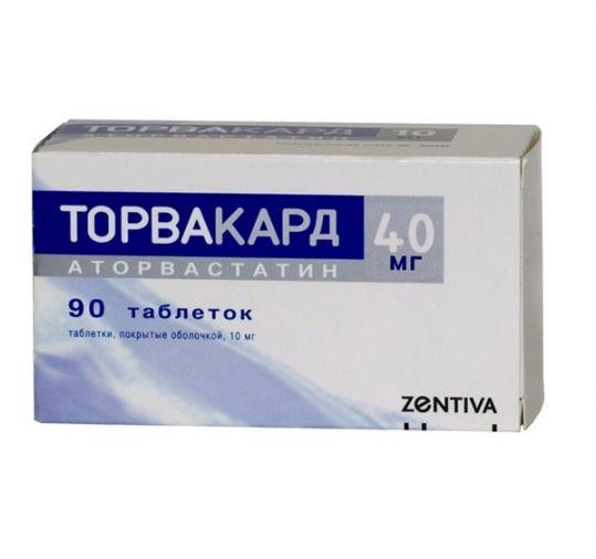Торвакард 40мг 90 шт. таблетки покрытые оболочкой, фото №1