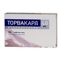 Торвакард 40мг 30 шт. таблетки покрытые оболочкой